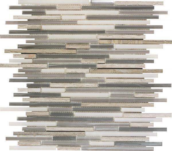 Mosaico rettangolare in travertino e vetro