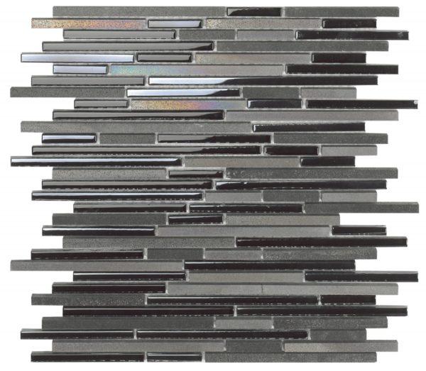 Mosaico tessere rettangolari in pietra e vetro iridescente nero