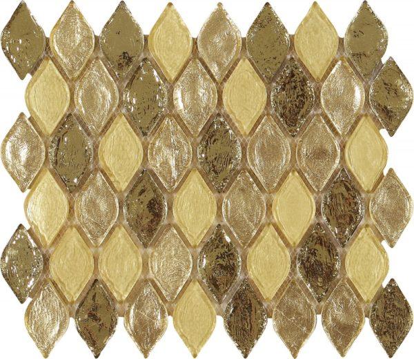 Mosaico vetroso a forma di goccia con toni dorati e avorio