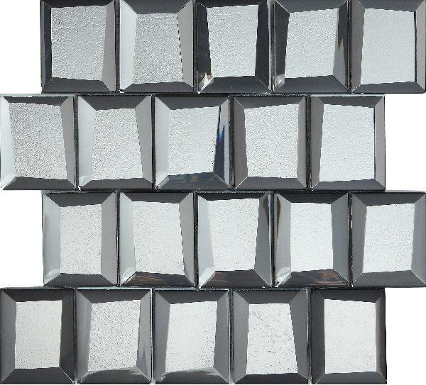 Mosaico vetroso con tessere grandi 3D argento