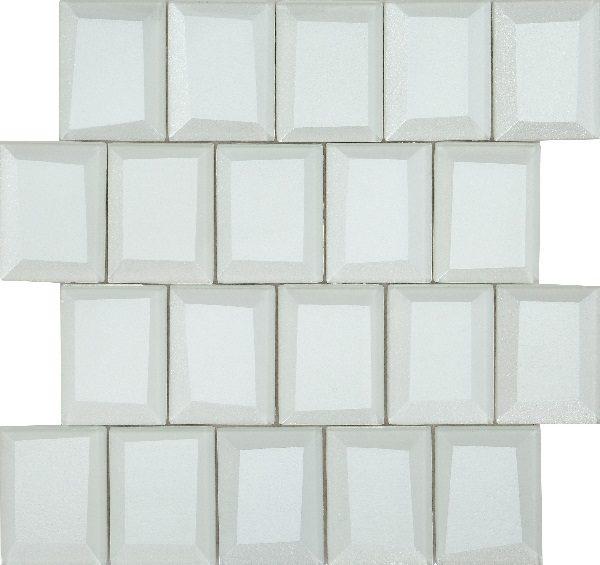 Mosaico vetroso con tessere grandi 3D bianco