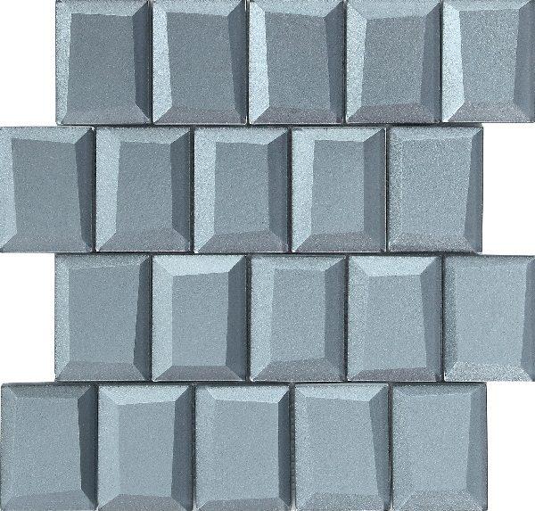 Mosaico vetroso con tessere grandi 3D grigio