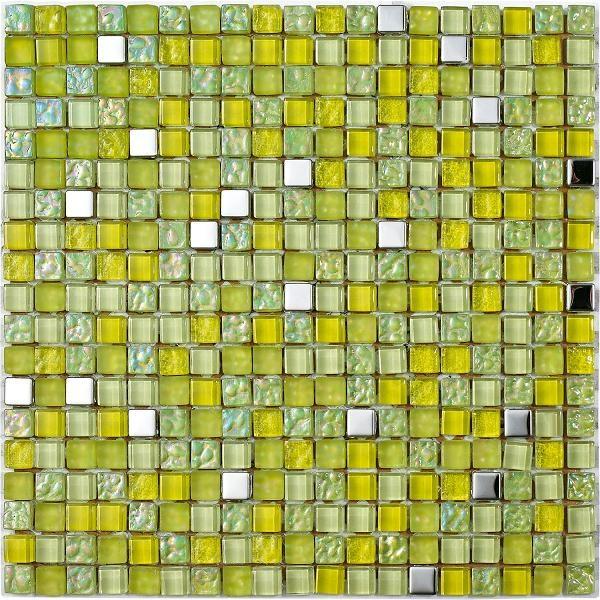 Mosaico vetroso con tessere piccole colr giallo limone