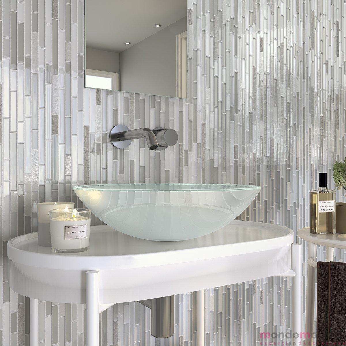 Bagno Con Mosaico Bianco bagno con mosaico a listelli grigio — mondo mosaico italia