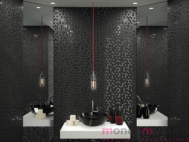 Bagno Con Mosaico Nero : Mosaico mix lucido opaco esagonale nero u mondo mosaico italia