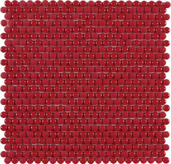 pMicro mosaico in vetro riciclato tessere rotonde rosso lucido:opacog