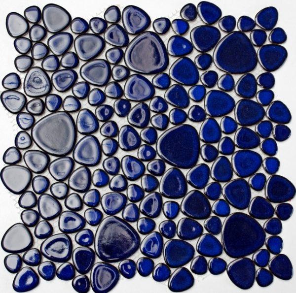 ciottoli blu smaltati mosaico