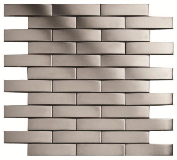 mosaico a listelli in acciaio a rilievo