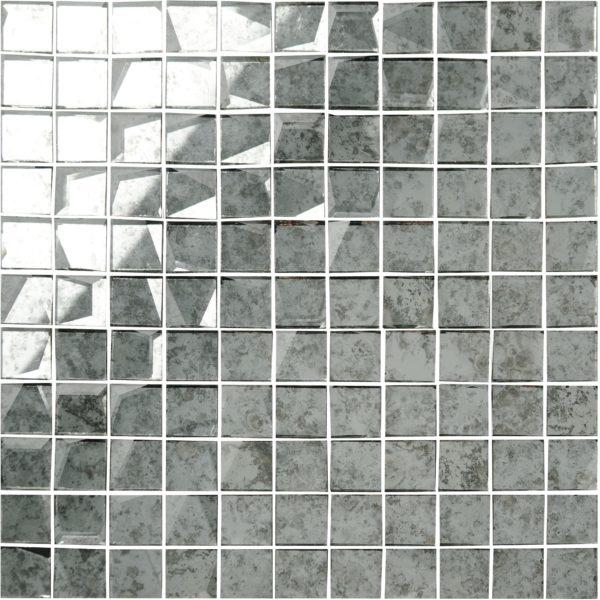 mosaico a specchio anticato bianco 24×24