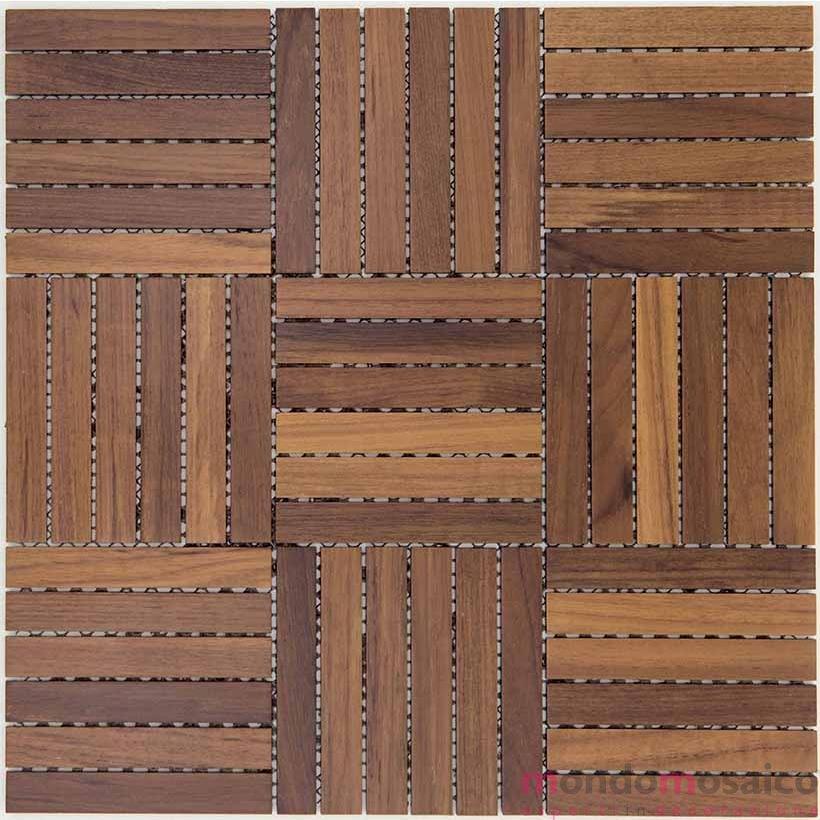 Mosaico in legno teak chiaro per rivestimenti di bagni.