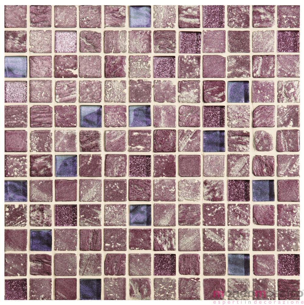 Piastrelle Bagno Mosaico Viola mosaico pietra e vetro rosa rustico