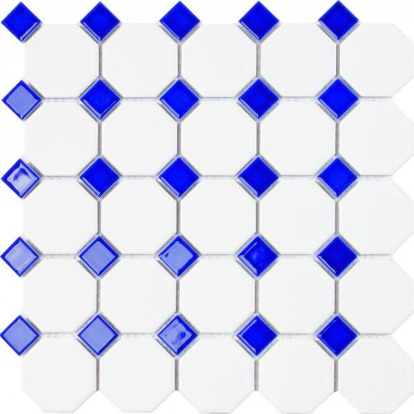 mosaico bianco con tessere blu